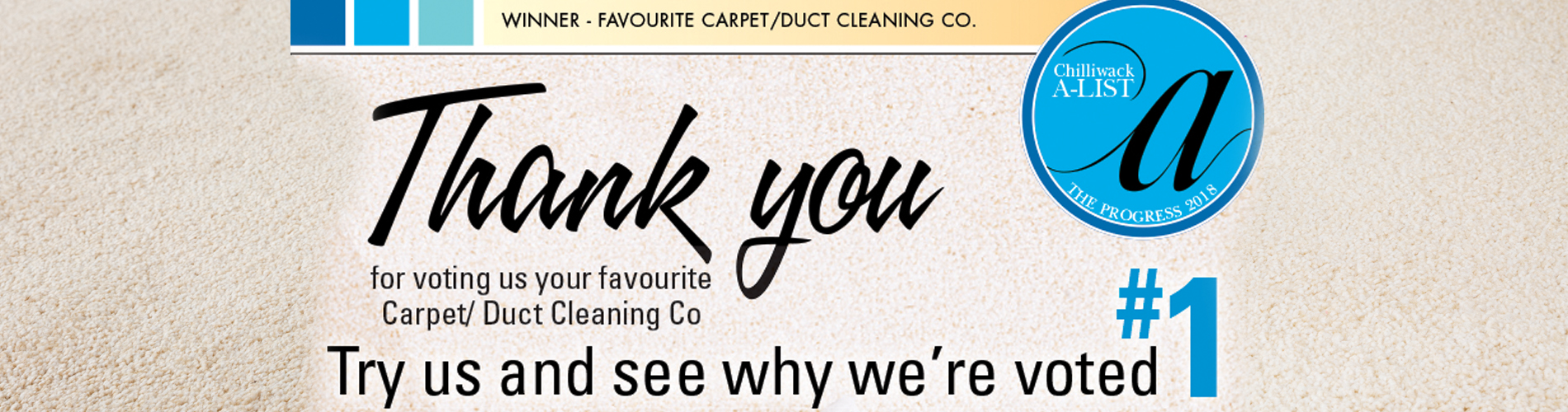Thank You for voting us #1 carpet and duct cleaners
