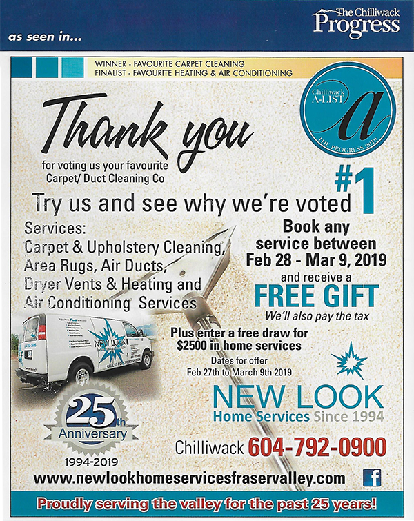 Chilliwack voted first rated carpet and duct cleaning company.